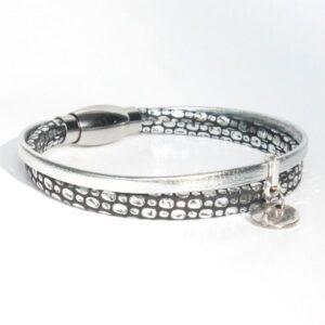 bijoux enfants filles bracelet enfant fille cuir argenté noir Mamba 1