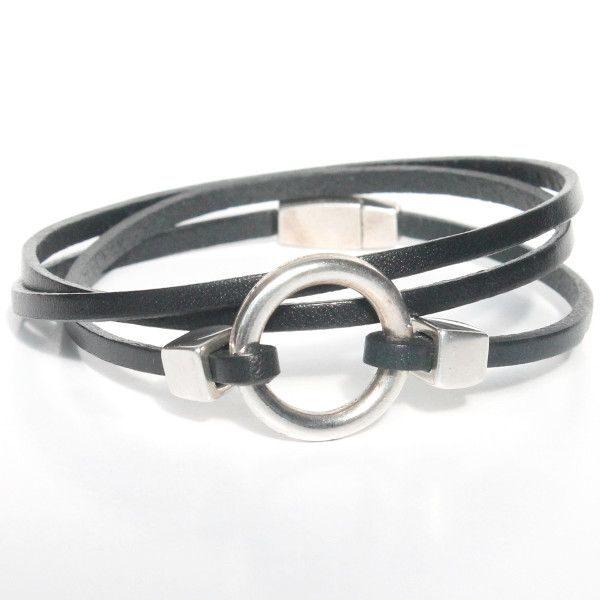 bracelet homme cuir anneau triple tours fermoir aimanté noir 1