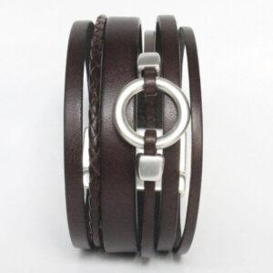 bracelet-homme-cuir-manchette-multirang-anneau-fermoir-aimanté-marron-1