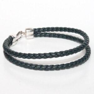 bijoux bracelet enfant cuir tressé bleu marine fermoir crochet plaqué argent cadeau tendance 1