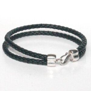 bijoux bracelet enfant cuir tressé bleu marine fermoir crochet plaqué argent cadeau tendance 2