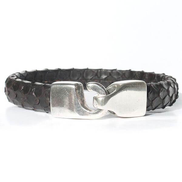 bijoux bracelet homme cuir reptile serpent python luxe original marron fermoir argenté 3