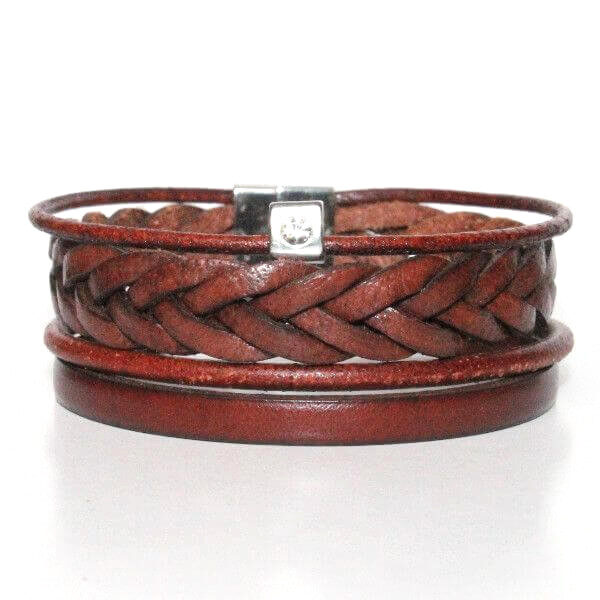 bijoux bracelet homme manchette cuir tressé cordon marron fermoir aimanté acier 1