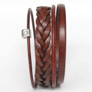 bijoux bracelet homme manchette cuir tressé cordon marron fermoir aimanté acier 2