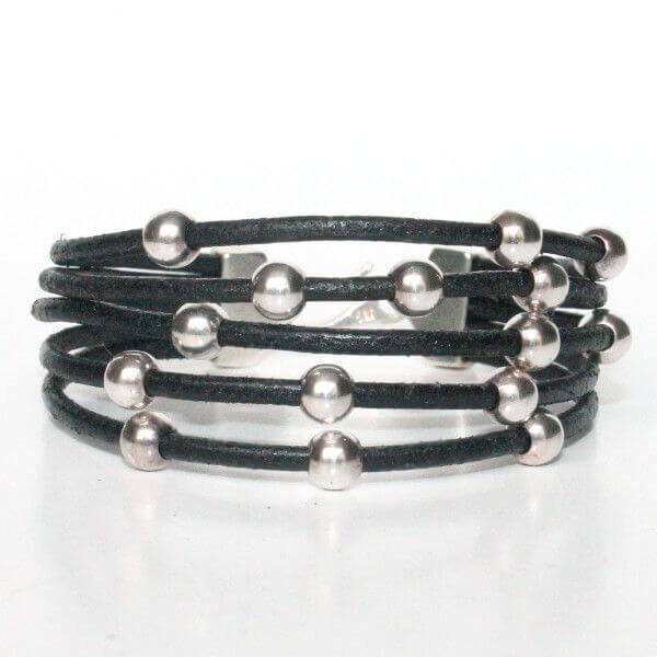 bijoux enfant bracelet fille cuir perles rondes argent 925 fermoir crochet plaqué argent tendance 1