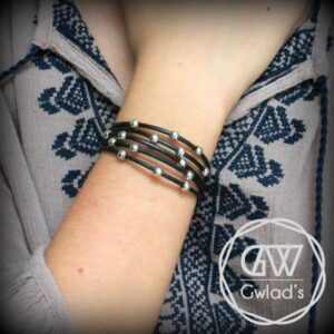 bijoux enfant bracelet fille cuir perles rondes argent 925 fermoir crochet plaqué argent tendance 4