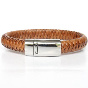 bracelet homme cuir tressé marron camel fermoir magnétique acier tendance 1