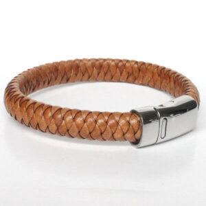 bracelet homme cuir tressé marron camel fermoir magnétique acier tendance 2