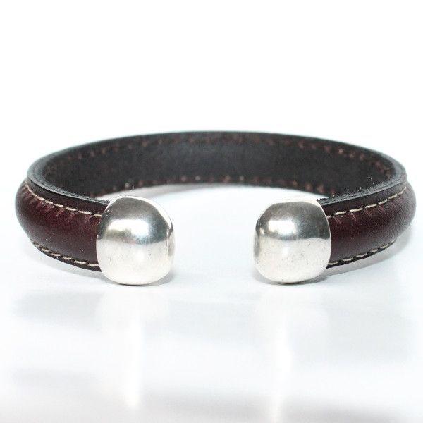 bracelet jonc homme cuir surpiqué ouvert argenté tendance 1