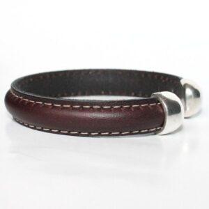 bracelet jonc homme cuir surpiqué ouvert argenté tendance 2