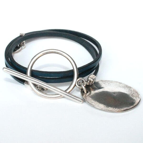 bracelet cuir femme fin argent médaille tendance 5