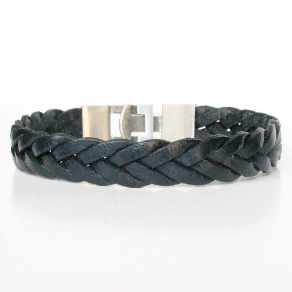 bracelet homme cuir tressé acier bijou 1