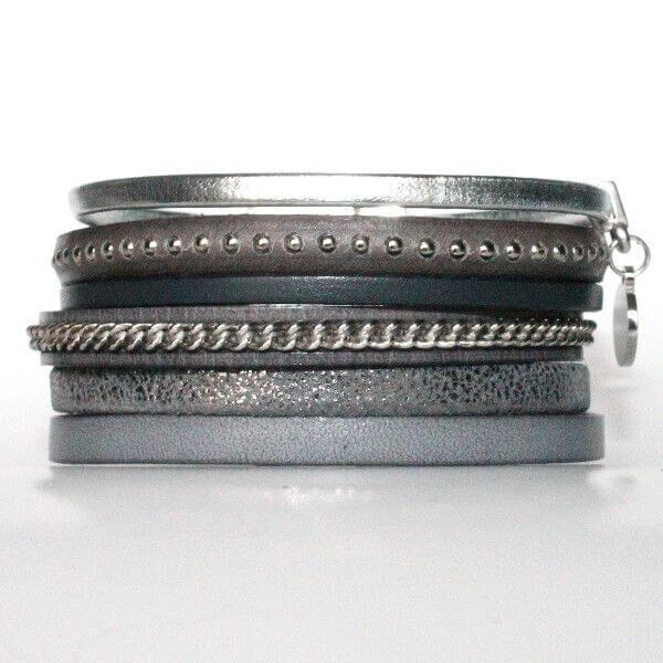 Bracelet femme manchette cuir bijoux tendance gris 1