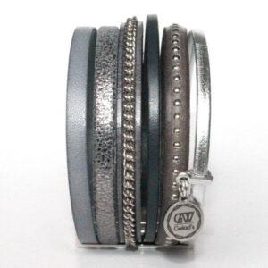 Bracelet femme manchette cuir bijoux tendance gris 2