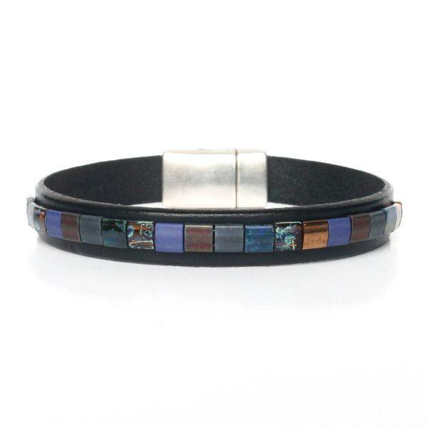 bracelet homme cuir et perles verre du Japon Miyuki 1B