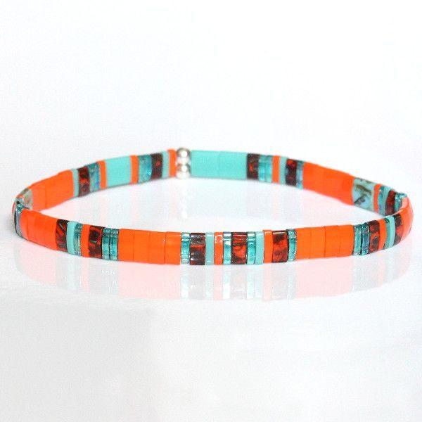 Bracelet perle femme Miyuki tendance été perles colorées plates verre japonais orange turquoise 1