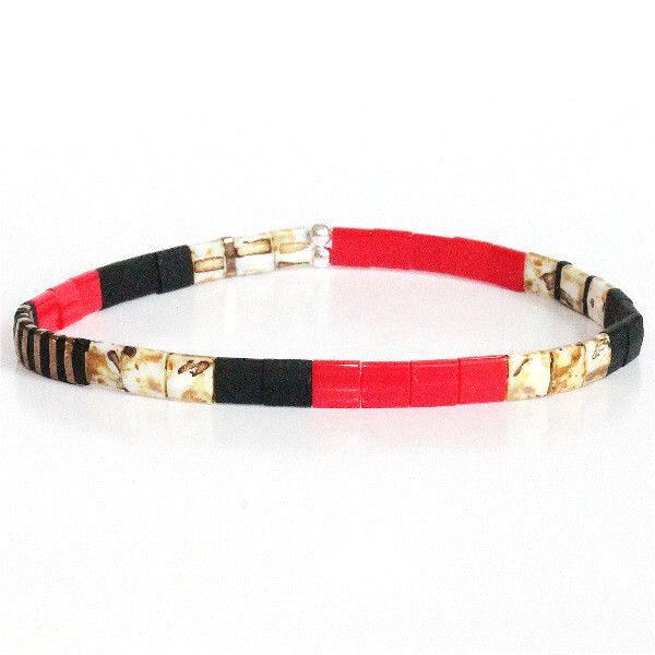 bracelet fin perle miyuki femme homme coloré multicolore lumineux brillant verre japonais rouge 1