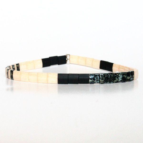 Bracelet perles pour homme tendance Miyuki colorées plates et carrées noir mat 1