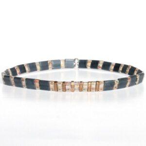 Bracelet perle homme tendance Miyuki coloré style surf gris 1