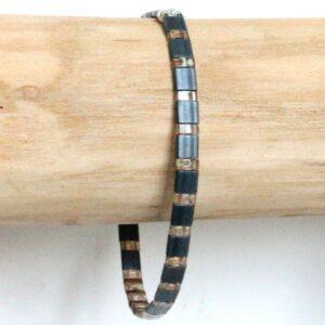 Bracelet perle homme tendance Miyuki coloré style surf gris 2