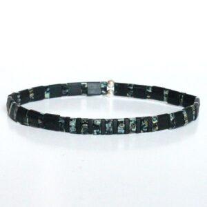 """bracelet perle homme miyuki tendance style surfeur perles colorées plates noir 1 """"Surf"""""""