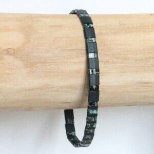 """bracelet perle homme miyuki tendance style surfeur perles colorées plates noir """"Surf""""2"""