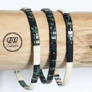 Bracelet perles pour homme tendance 2021 Miyuki colorées plates et carrées noir mat 4