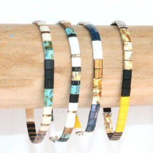 Bracelet perle homme tendance perles plates multicolore coloré noir blanc turquoise 2