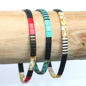 Bracelet perles tendance homme femme coloré miyuki perle carrée verre japon jaune 4