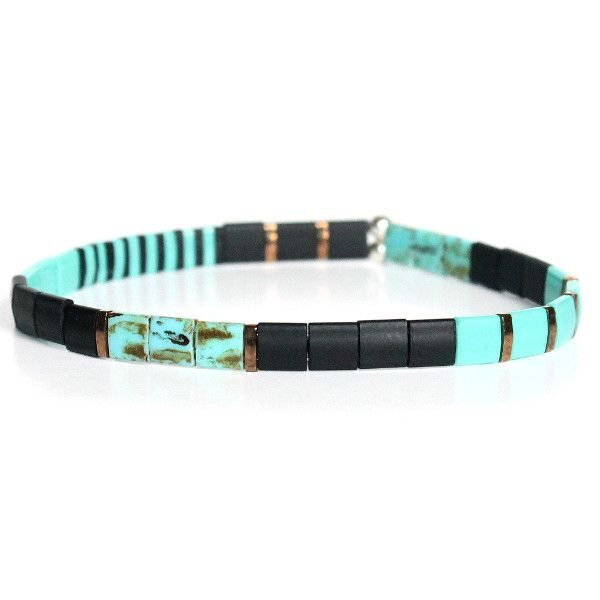 bracelet homme perles turquoise colorées verre japonaise surfeur 1