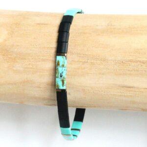 bracelet homme perles turquoise colorées verre japonaise surfeur 3