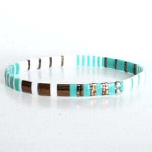 Bracelet perles miyuki perles carrée verre du japon turquoise bronze 1Bracelet perles miyuki perles carrée verre du japon turquoise bronze 1
