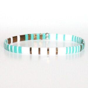 Bracelet perles miyuki perles carrée verre du japon turquoise bronze Tulum 2