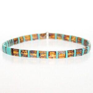 bracelet élastique perles colorées miyuki tila carrées en verre japon Safari 1