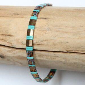 bracelet élastique coloré perles miyuki tila carrées en verre japon Safari 4