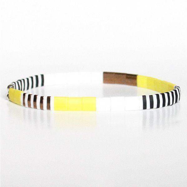 Bracelet perles miyuki perle carrée verre du Japon jaune flashy blanc noir coloré 1