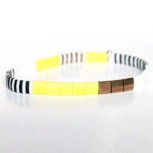 Bracelet perles miyuki perle carrée verre du Japon jaune flashy blanc noir coloré 2