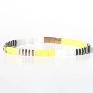 Bracelet perles miyuki perle carrée verre du Japon jaune flashy fluo blanc noir coloré 4