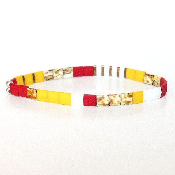 Bracelet perles miyuki perle carrée verre du Japon rouge blanc jaune coloré 1
