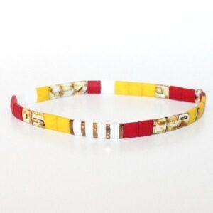 Bracelet perles miyuki perle carrée verre du Japon rouge blanc jaune coloré 2