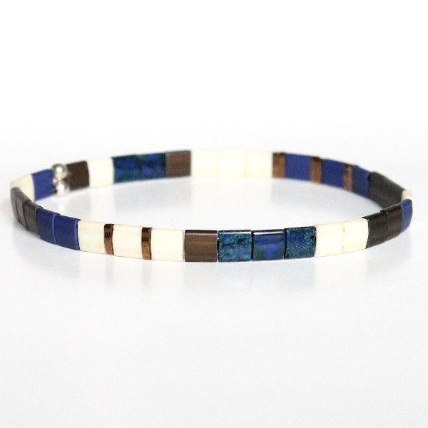 Bracelet en perles pour homme tendance miyuki verre du Japon coloré tendance bleu 1