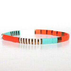 bracelet perles tila coloré miyuki verre du japon tendance orange turquoise 1