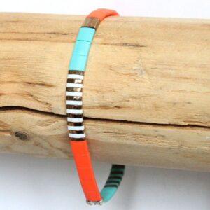 bracelet perles tila coloré miyuki femme verr du japon tendance orange turquoise 2