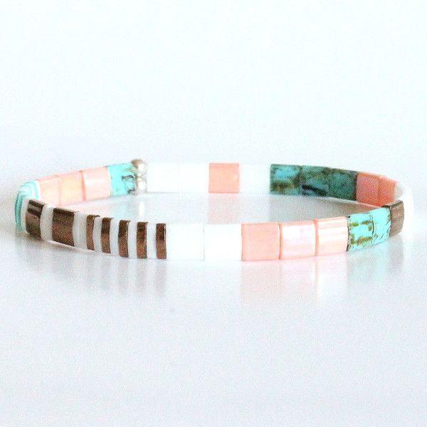 Bracelet perles miyuki tila verre du japon carré et coloré turquoise corail bronze