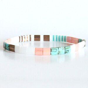 Bracelet perles miyuki tila verre du japon carré turquoise corail bronze 2