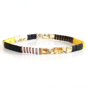 bracelet perles tendance homme femme coloré miyuki perle carrée verre japon jaune 1