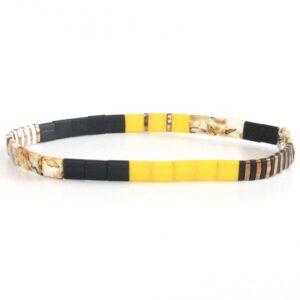 bracelet perles tendance homme femme coloré miyuki perle carrée verre japon jaune 3