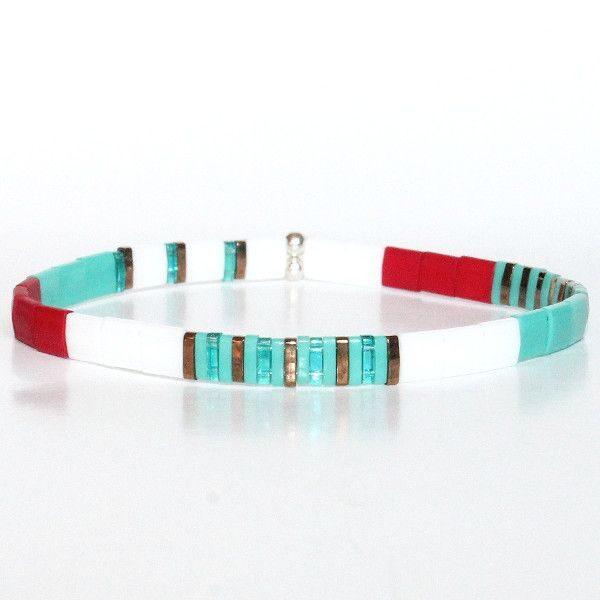 bracelet perle verre du japon perles carrées colorées multicolore turquoise rouge Miyuki 1