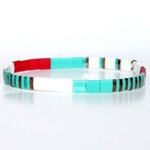 bracelet perle verre du japon perles carrées colorées multicolore turquoise rouge Miyuki 2