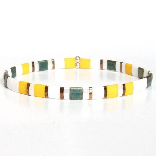 Bracelet perle homme tendance Miyuki fin multicolore jaune 1